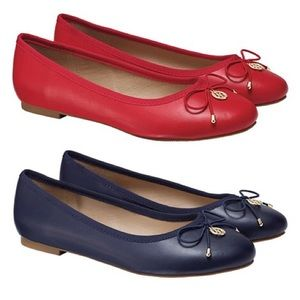 Navy ballet flats with bow and charm, new